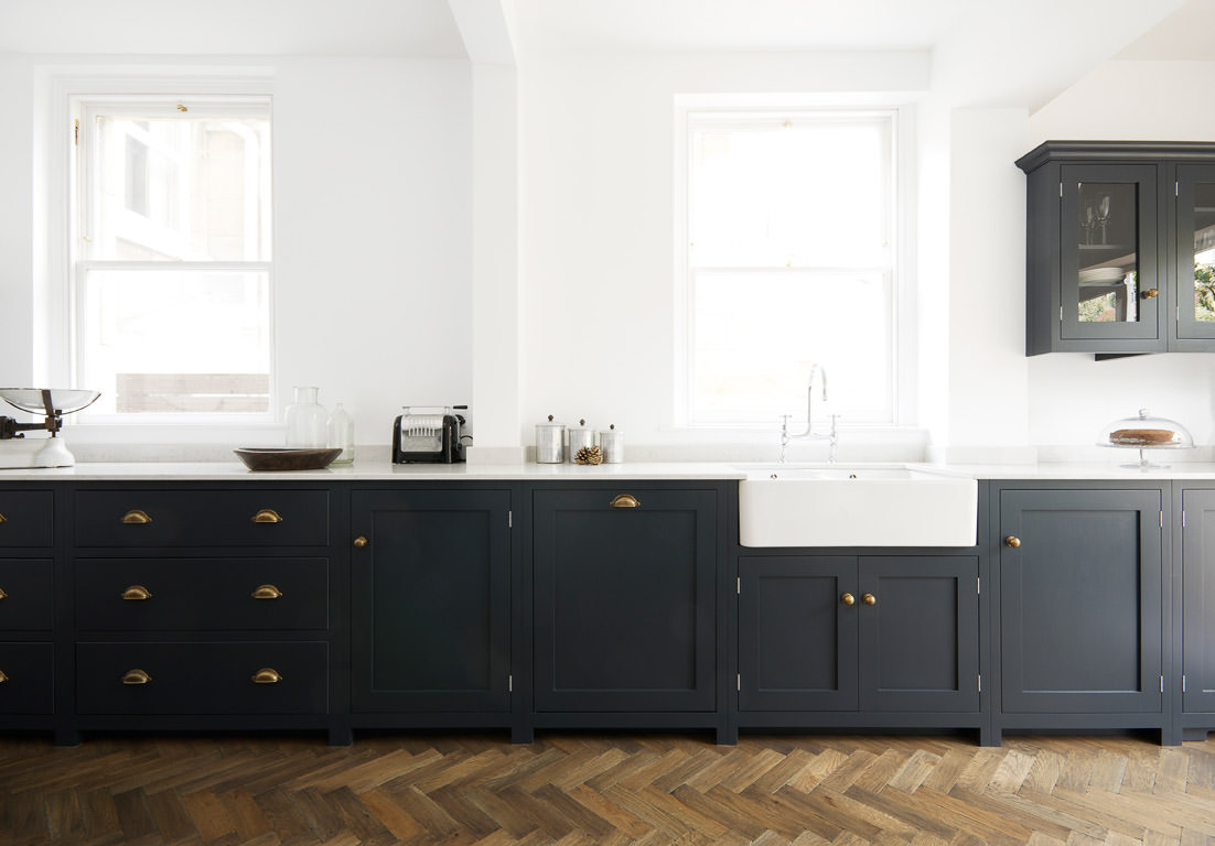 Pantry Blue and Parquet, a perfect match.