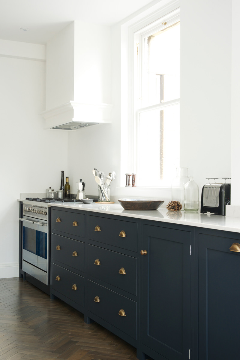 Brushed brass square bin pull kitchen pinterest for Blue kitchen cabinets pictures