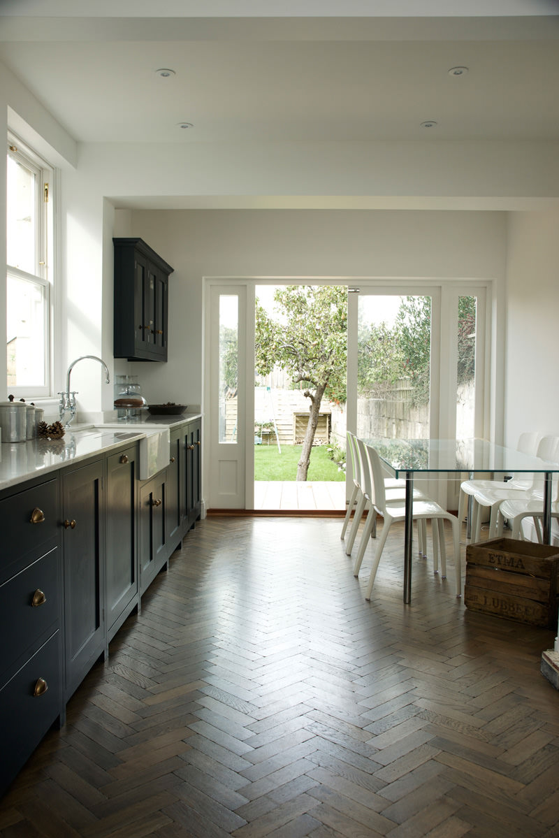 Pantry blue and parquet a perfect match the devol for Perfect tiles for kitchen