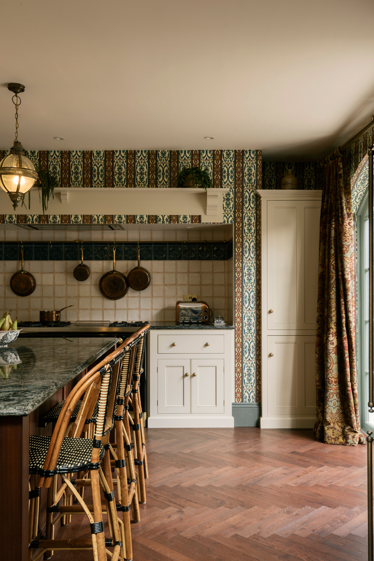 A solid wooden parquet floor was the perfect choice for this Victorian home
