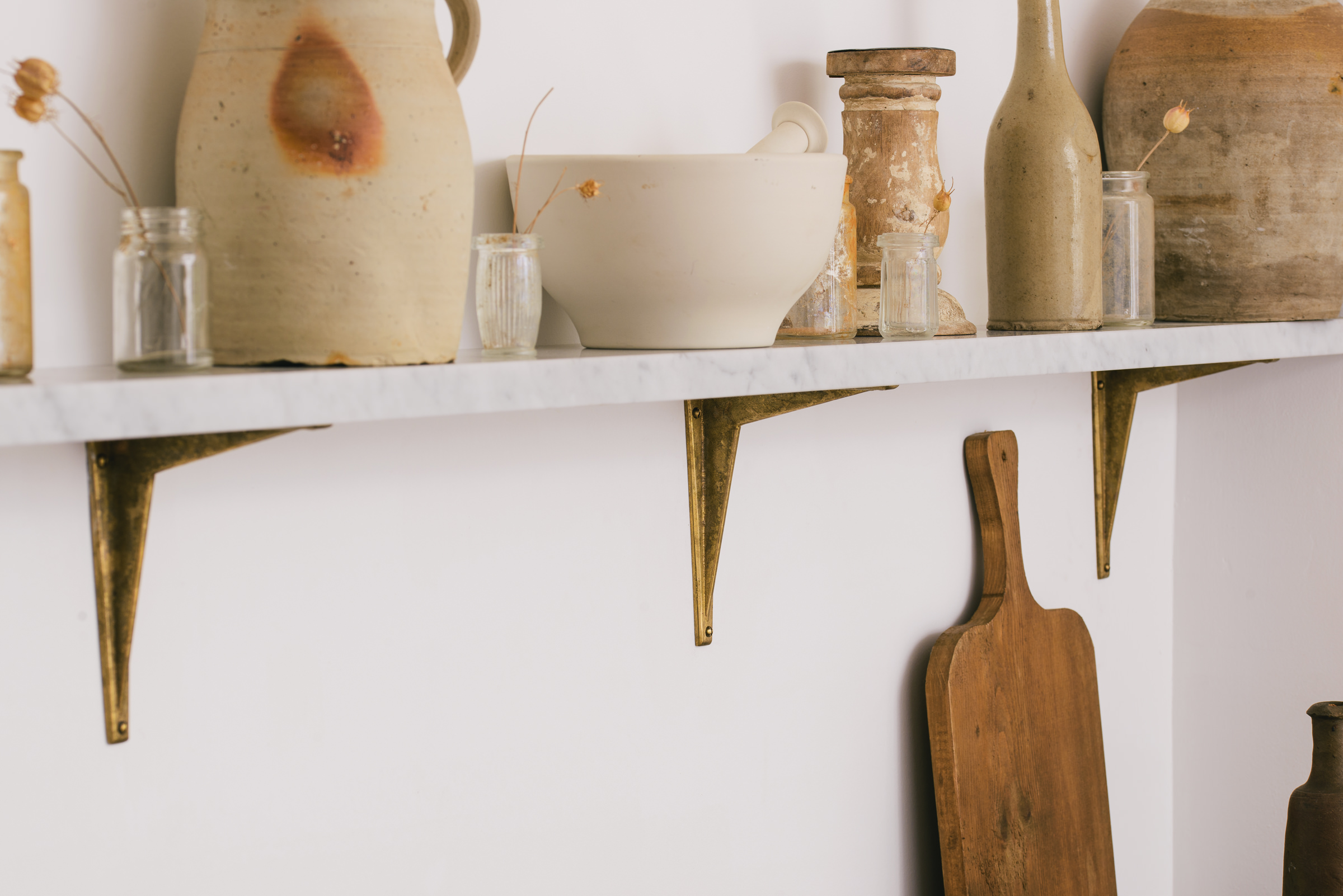 Our Aged Brass Shelf Brackets looking lovely in the Millhouse Scullery