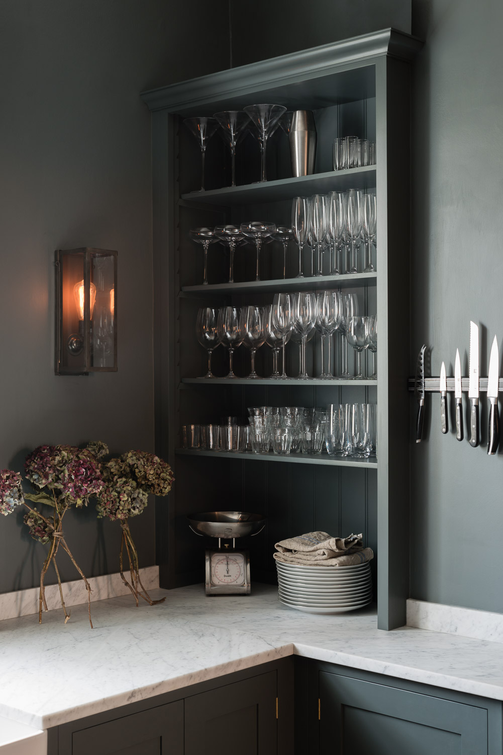 The Bloomsbury Kitchen uses Carrara marble with a smooth, honed finish.