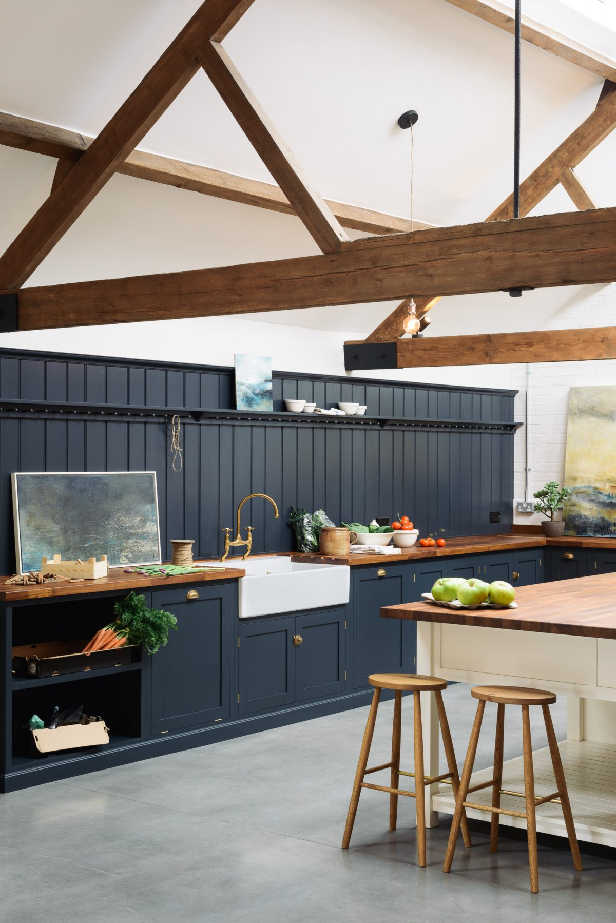 A whole wall of tongue and groove panelling looked really impressive, hand-painted in Pantry Blue.