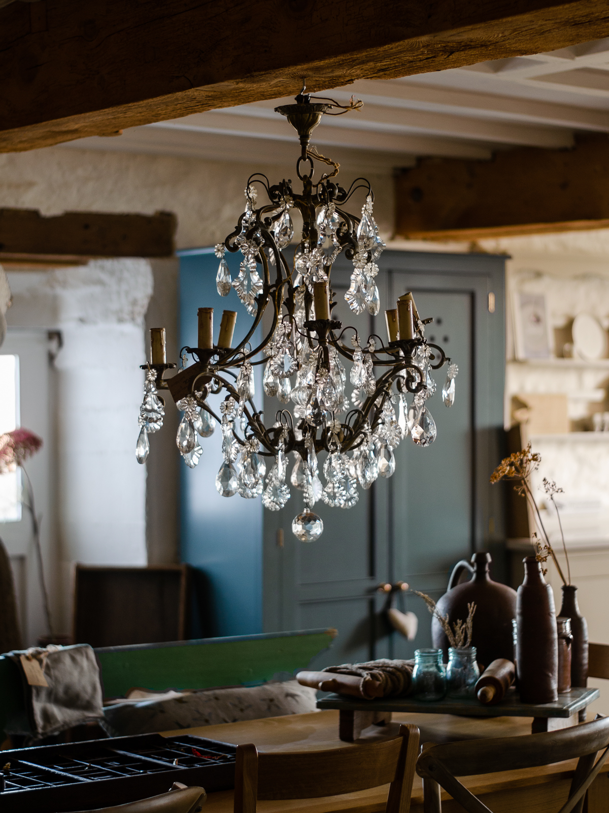 A hanging chandelier in the Shaker Showroom.