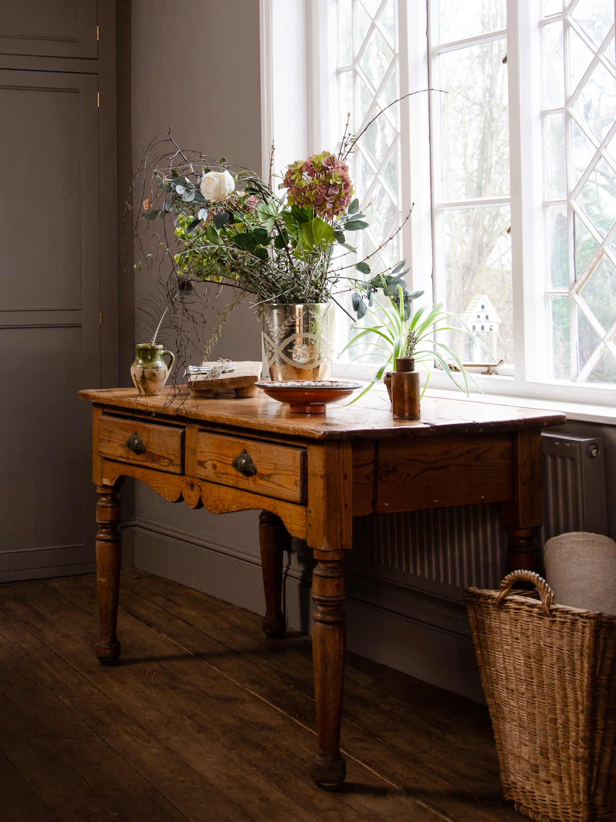 Antique Pine Table with Two Drawers in our Millhouse Kitchen