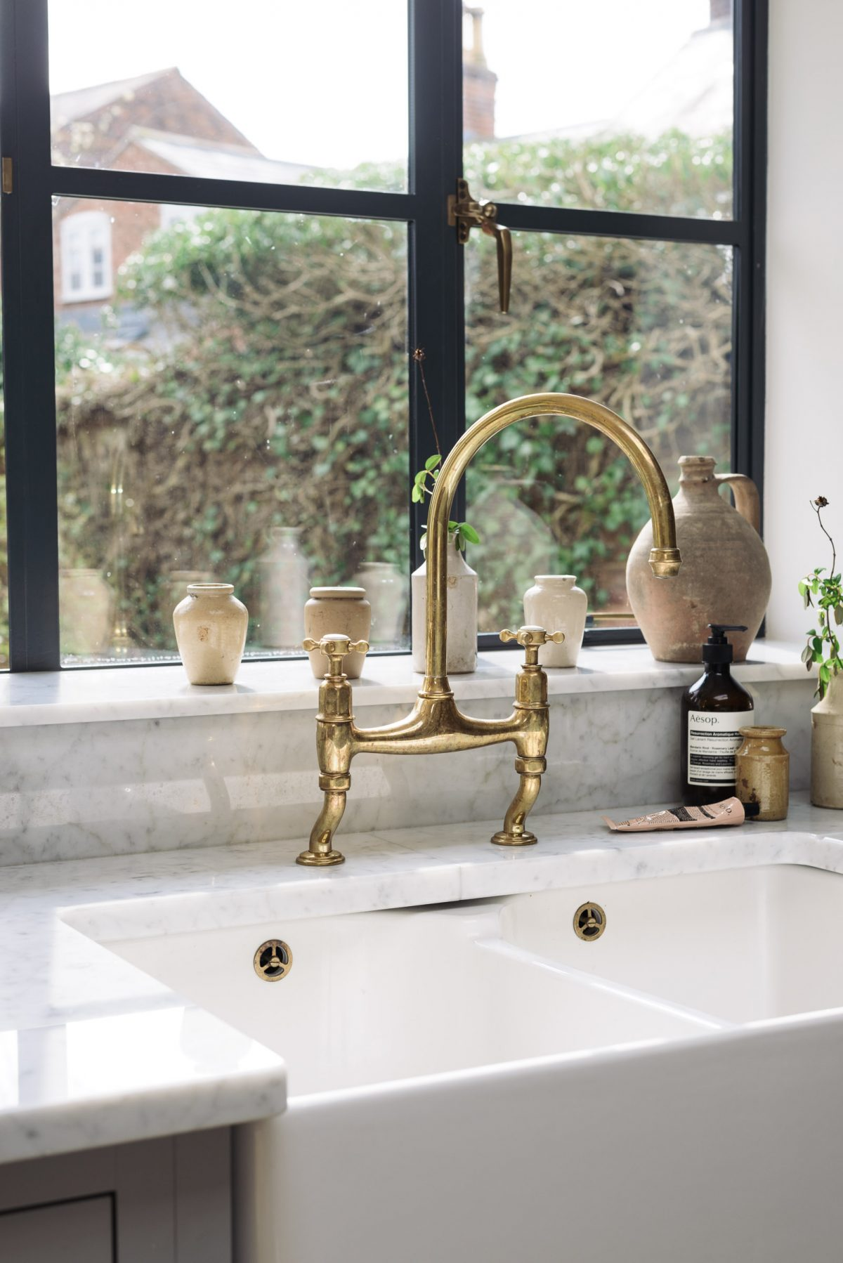 The deVOL Aged Brass Ionian Tap made in collaboration with Perrin & Rowe.