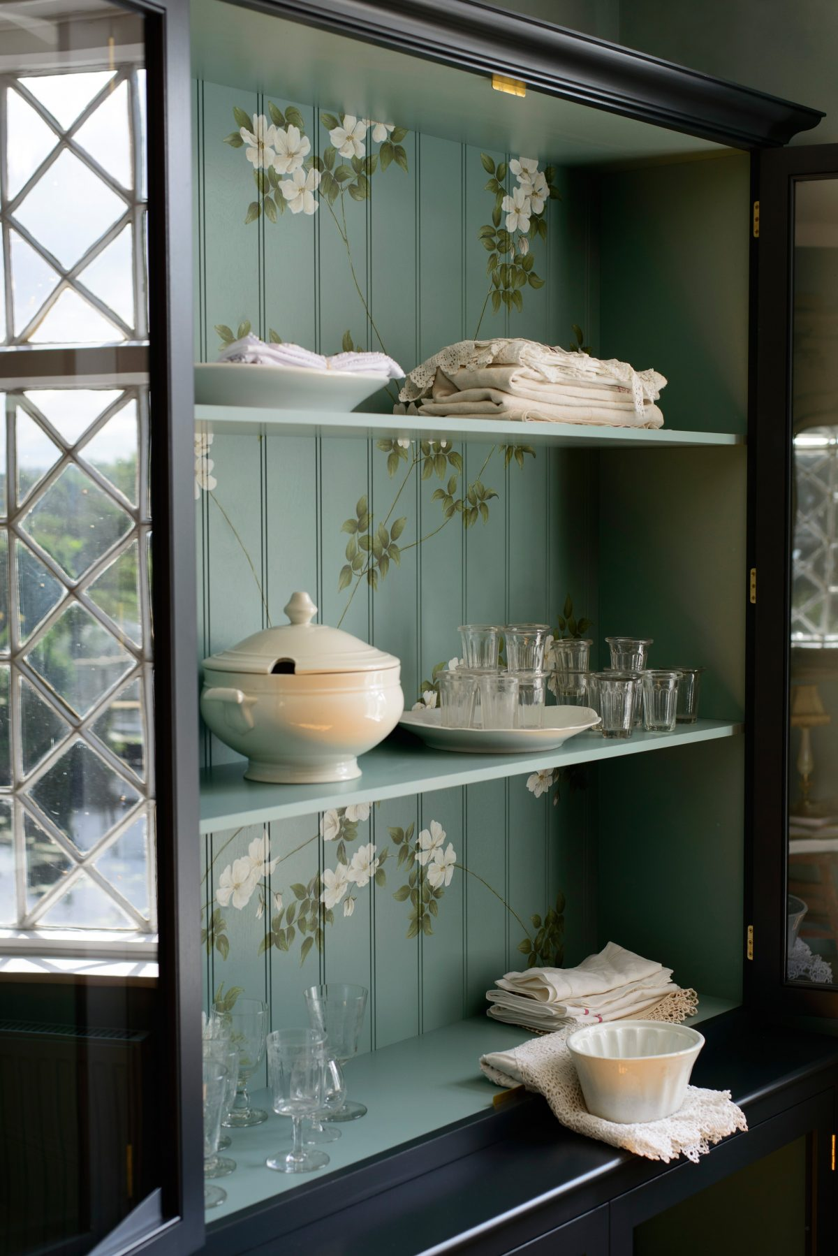 This Printer's Black Curiosity Cupboard has been adorned with our 'Rambling Wild Roses' design.