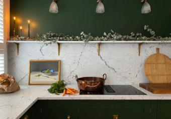 Photographing a little green deVOL Kitchen in Paddington