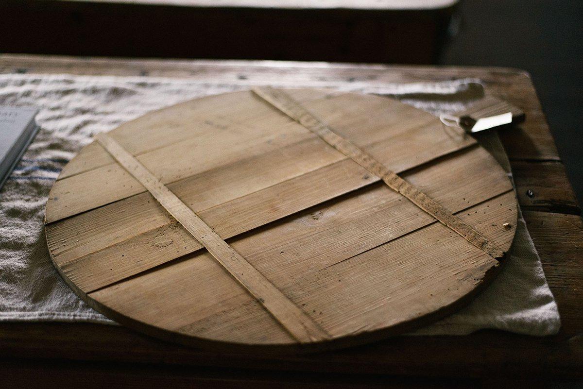 Antique Round Bread Board photo 1