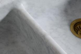 Fluted Tuscan Farmhouse 1000 Double Marble Sink photo 6 thumbnail