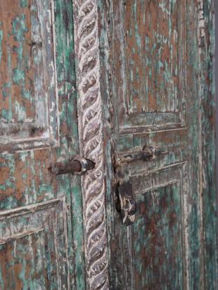 Small Green Painted Indian Doorway photo 3 thumbnail