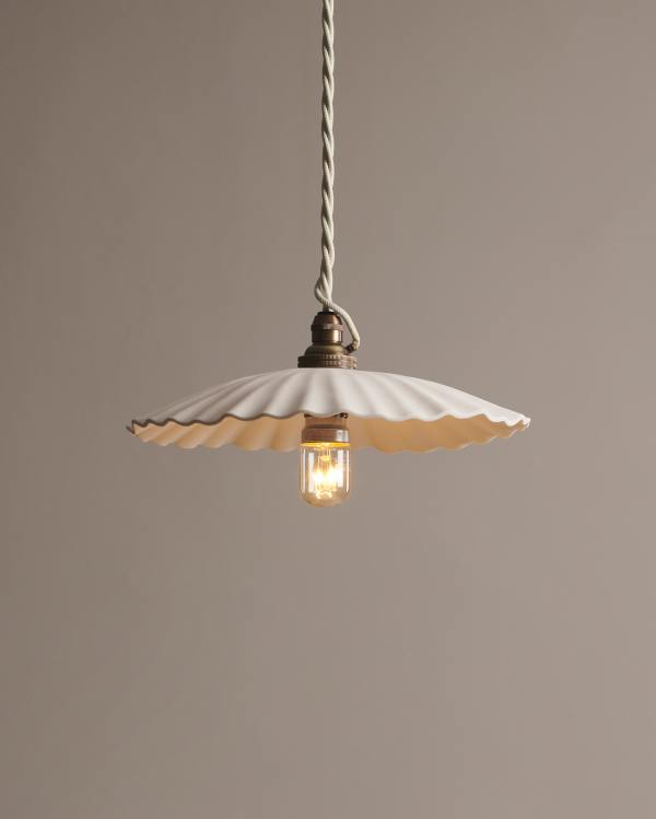 Large Narrow Pleat Porcelain Light
