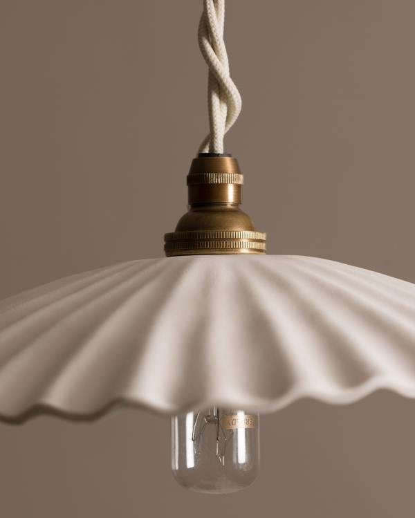 Large Narrow Pleat Porcelain Light
