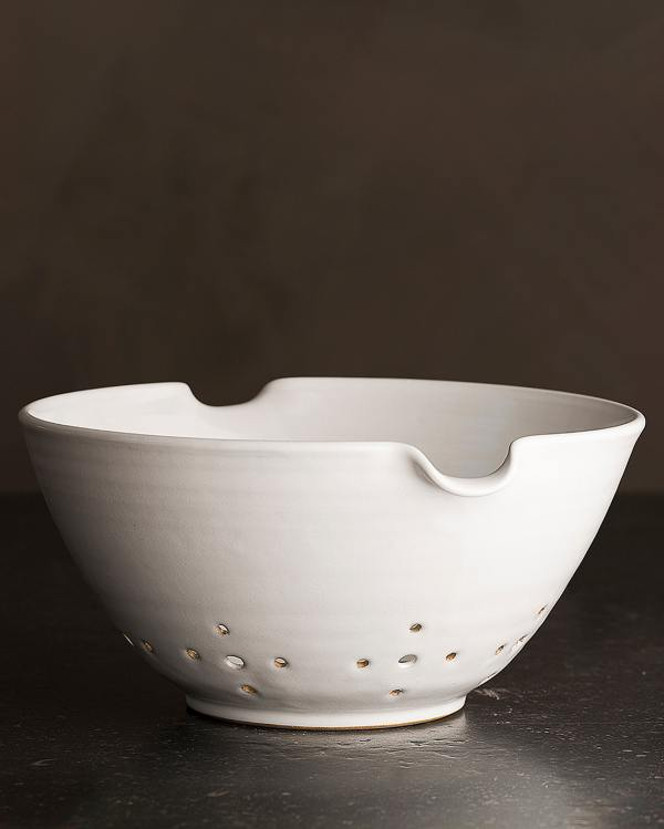 Large Natural White Colander