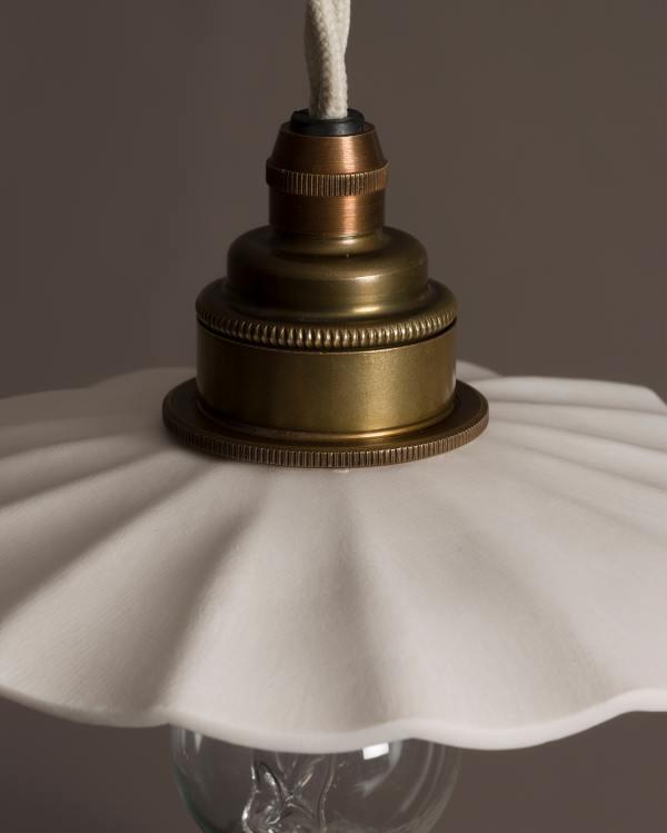 Small Wide Pleat Porcelain Light