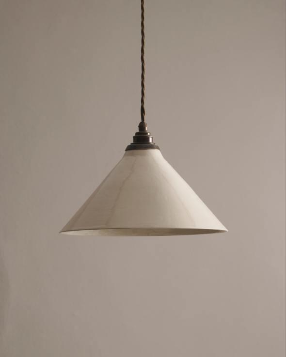 Large Creamware Pendant Light
